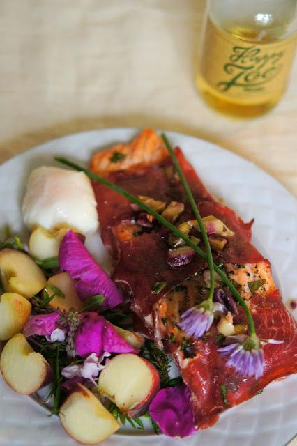 Cider salmon wrapped in cold smoked ham, #fish, #salmon, #poachedegg, #salad