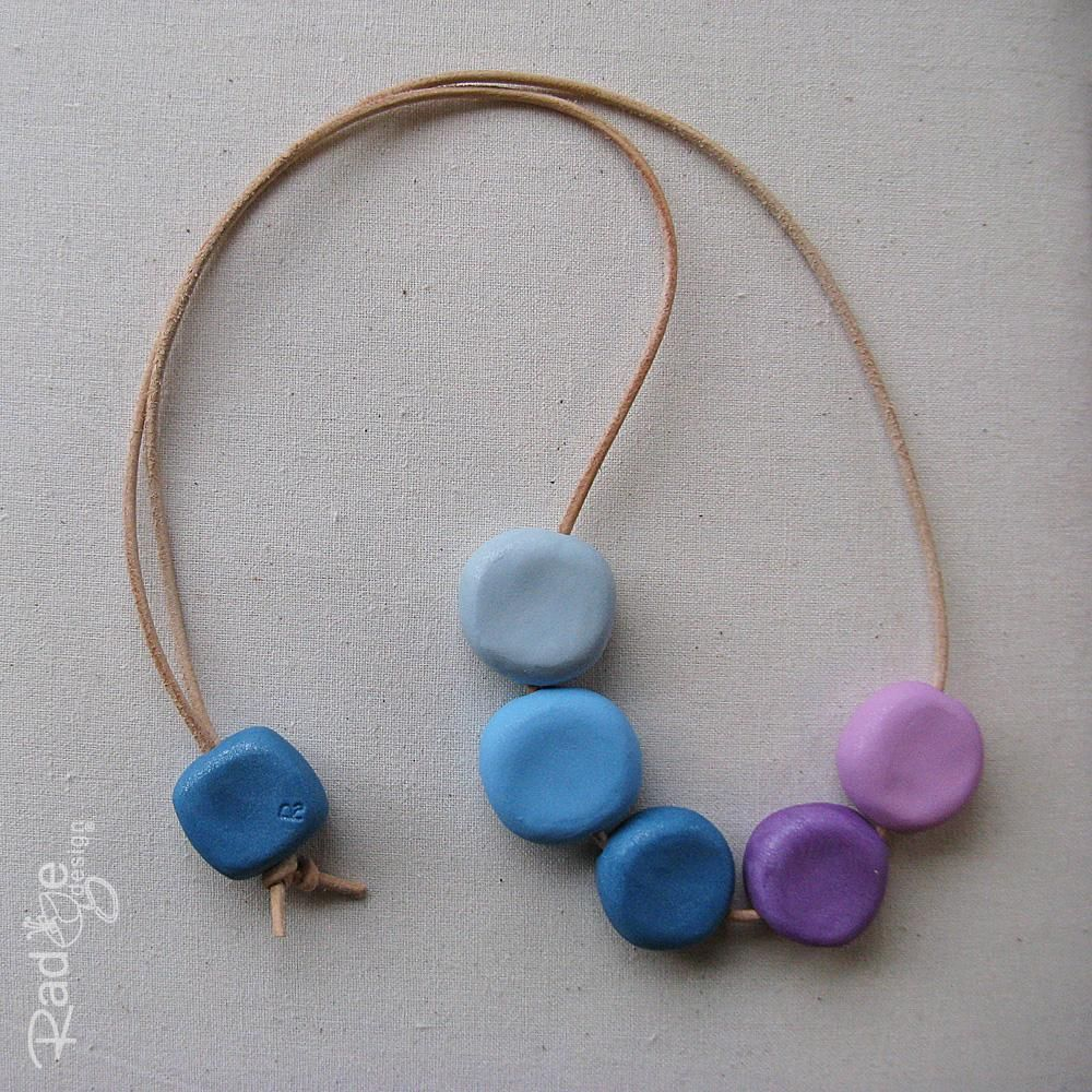 $30 5 Pebble Polymer Clay Necklace BlueLilac by radgedesign on Handmade Australia