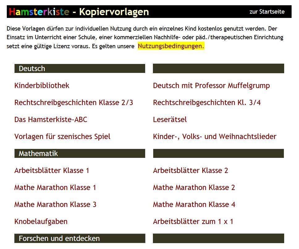 Arbeitsblätter aus der Hamsterkiste zum Ausdrucken | Mathe 1 - bis ...