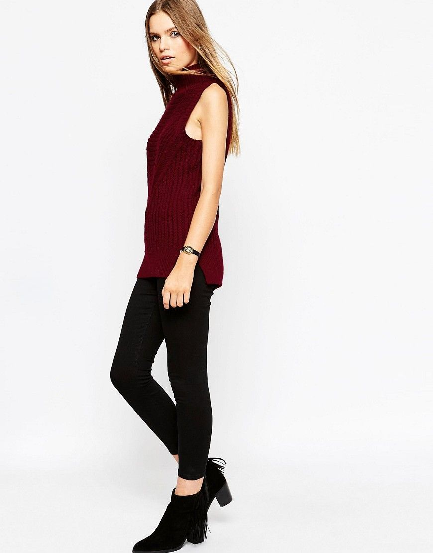 9e2b7ff2c3a181 Image 4 of ASOS Sleeveless Jumper In Chunky Knit With High Neck ...