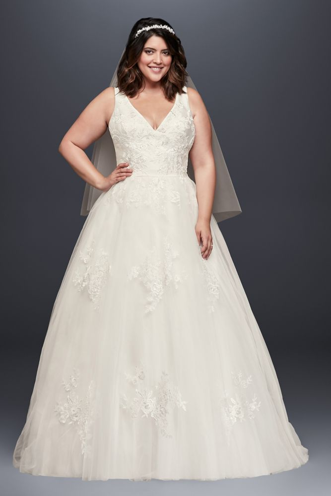 96a4d3159d55 Plus Size Wedding Dress with Removable Straps Style 9WG3838, Ivory ...