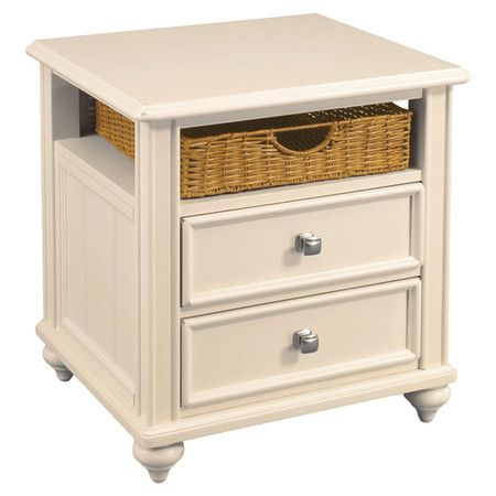 Awesome Wood End Table In Ivory With Turned Bun Feet. Showcases 2 Drawers And A  Woven
