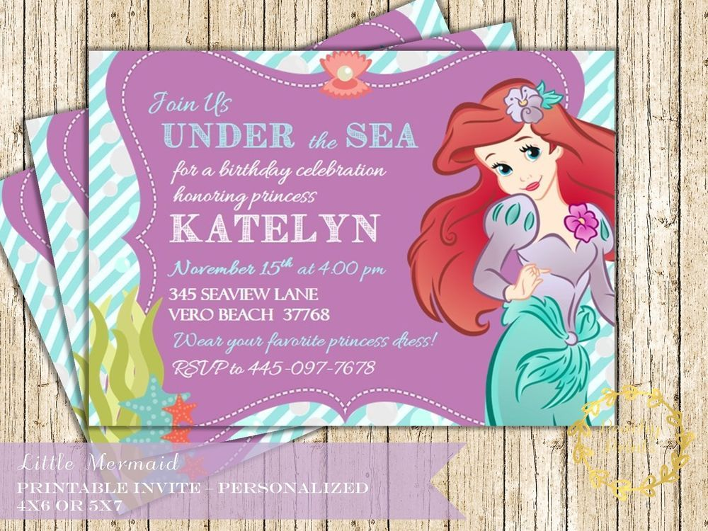 Ariel Invitation, Little Mermaid Birthday Party Invites, Under the ...
