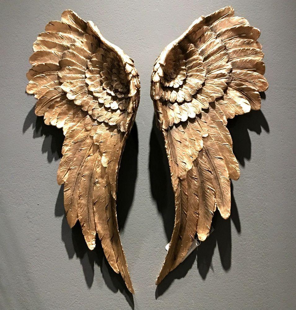Popular Wanddeko Engelsfl gel Gold xcm Fl gel St ck Antik Engel Dekoration Neu in M bel u Wohnen