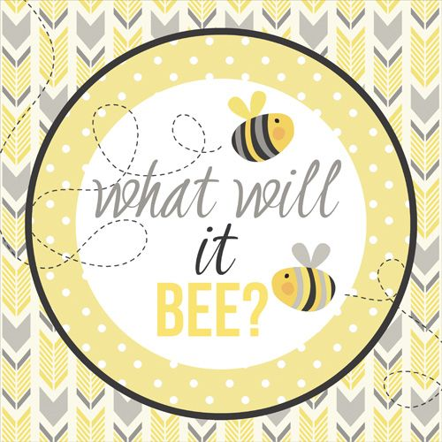 Stickers, Party Decor, Bee Baby Shower, What Will It Bee? Yellow And Grey Shower, Modern Baby