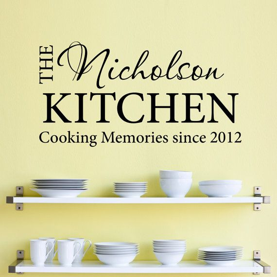 Personalized Name Kitchen Wall Decal - Cooking Memories ...