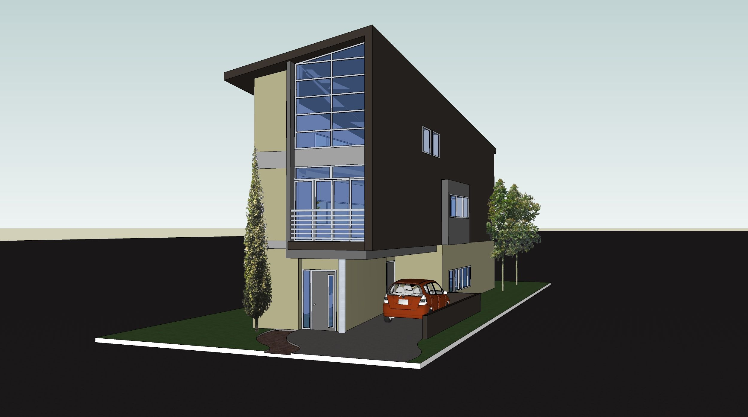 Narrow lot very modern box off street parking no for Narrow 3 story house plans