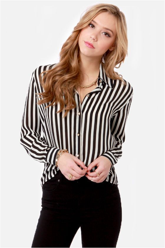 b11d6565d4460 Little White Lines Black and White Striped Top in 2019