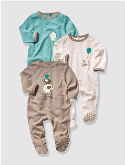 cbf72d2435d7c Lot de 3 pyjamas coton bébé mixte ASSORTIS - vertbaudet enfant ...