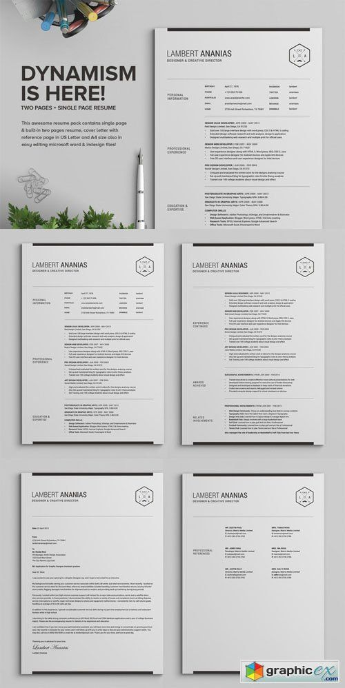 2 Pages Resume CV Pack - Lambert CV Pinterest Resume cv - single page resume