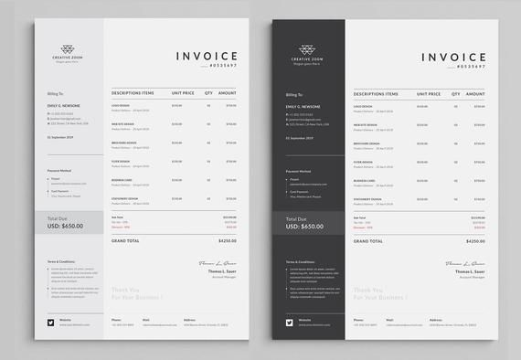 Invoice Template | Business Invoice | Receipt | Printable Invoice | Word Invoice | Printable Receipt | Excel Invoice | digital download