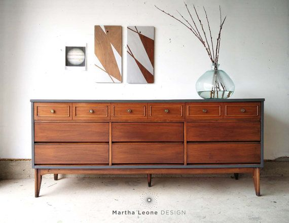 SAMPLE Dixie Mid Century Triple Dresser By MarthaLeoneDesign