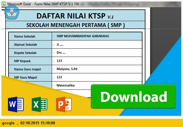 Aplikasi Raport Dan Daftar Nilai Smp Ktsp 2006 Tahun Pelajaran 2015 2016 File Pendidikan Microsoft Excel Nilai Microsoft