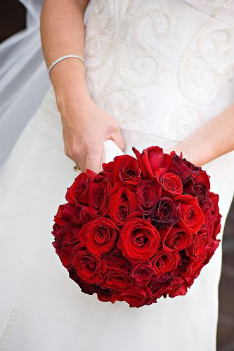 Red rose bridal bouquet, ball