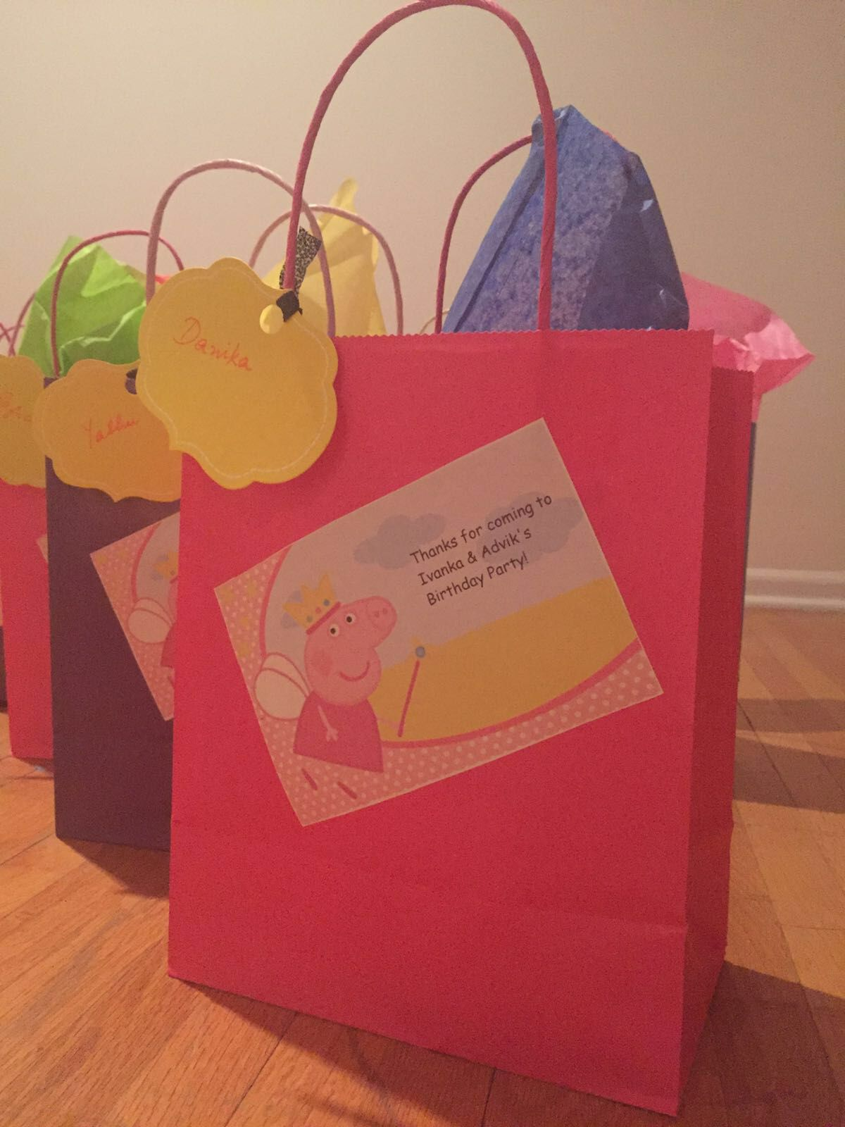 Peppapig Return Gift Bag Baby Birthday Decorations Celebration Paper Shopping