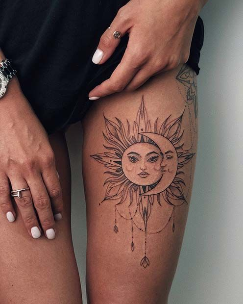 45 Badass Oberschenkel Tattoo-Ideen für Frauen - Art - #Art #Badass #Frauen #für #Oberschenkel #Tatt