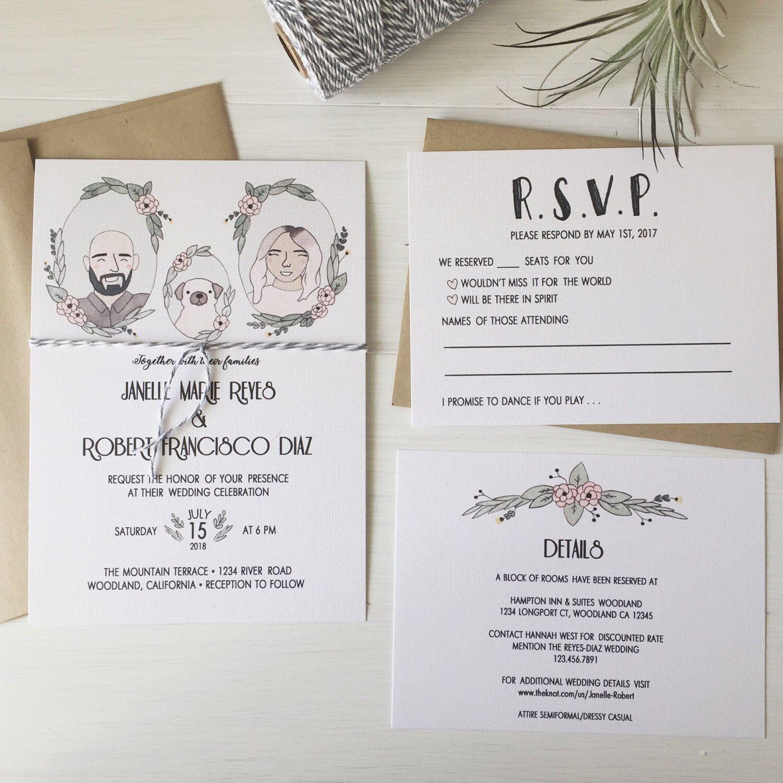 Custom Portrait Wedding Invitation Suite, Wedding Invitation, Custom ...