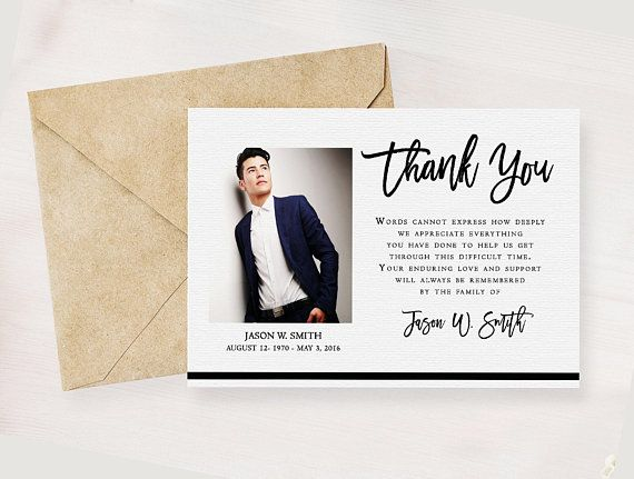 Modern Funeral Thank You Card Memorial Service Editable Template