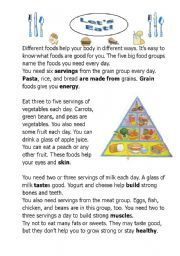 english worksheet let acirc acute s ea a reading comprehension about health a reading comprehension about health and food