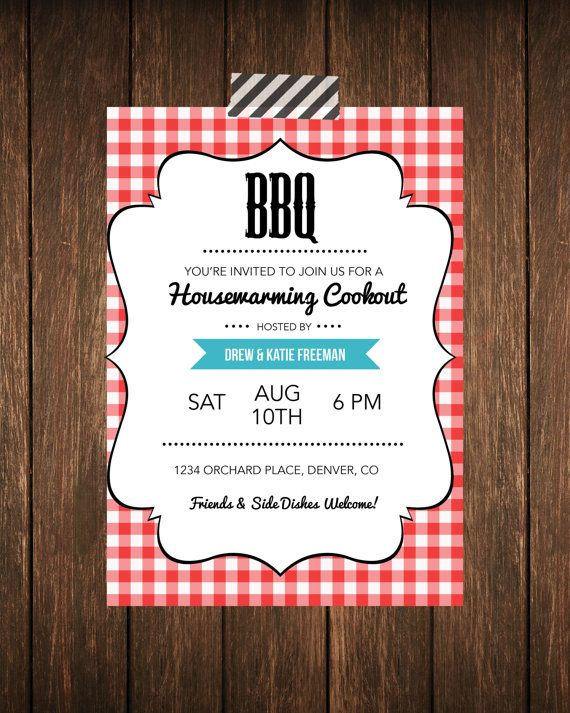 Housewarming BBQ Cookout Party Invitation