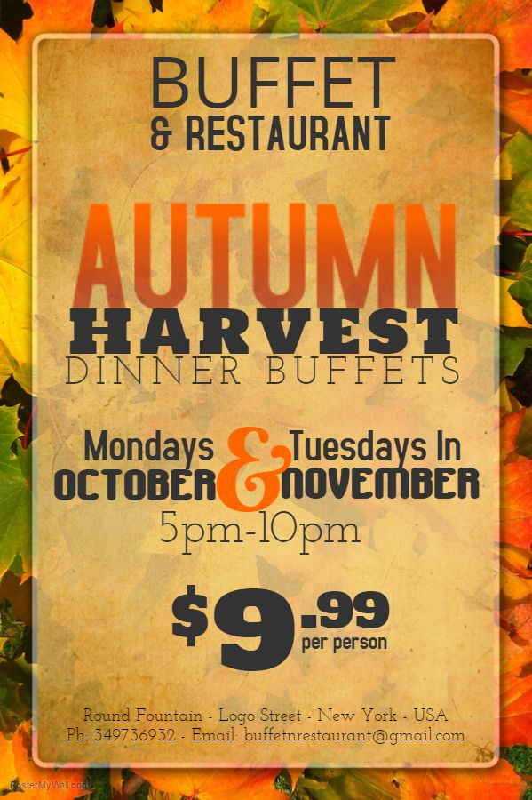 autumn harvest dinner flyer social media post design fall autumn