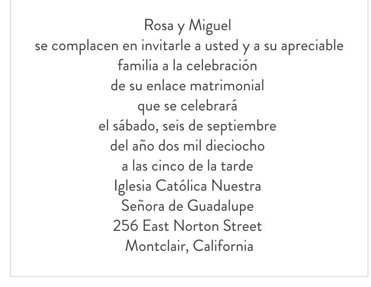 Wording Sample For Wedding Invitation In Spanish Spanish