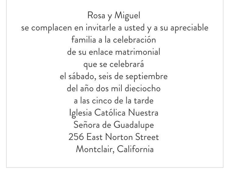 Wedding Anniversary Invitation Wording In Spanish