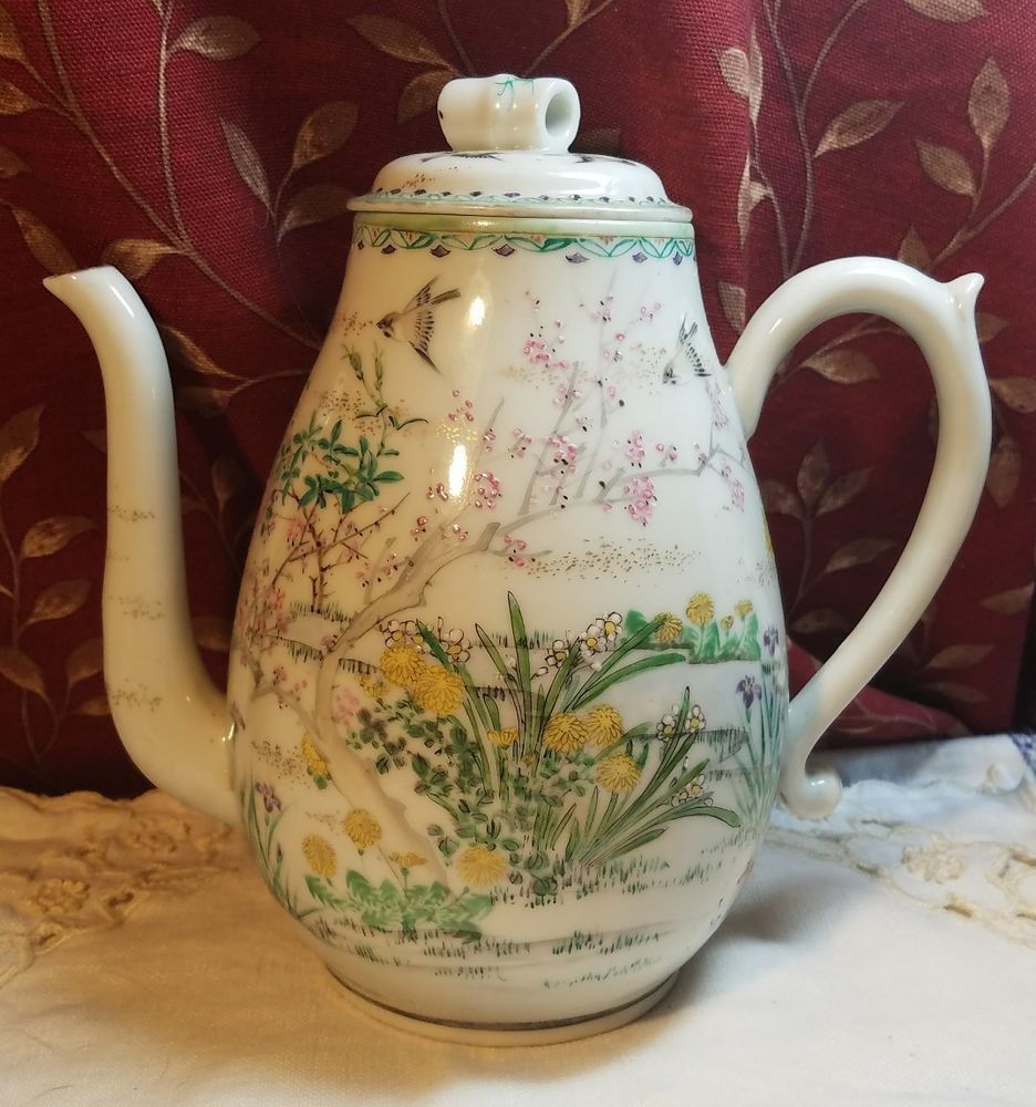 VINTAGE PORCELAIN TEAPOT HAND PAINTED RED STAMP MADE IN JAPAN