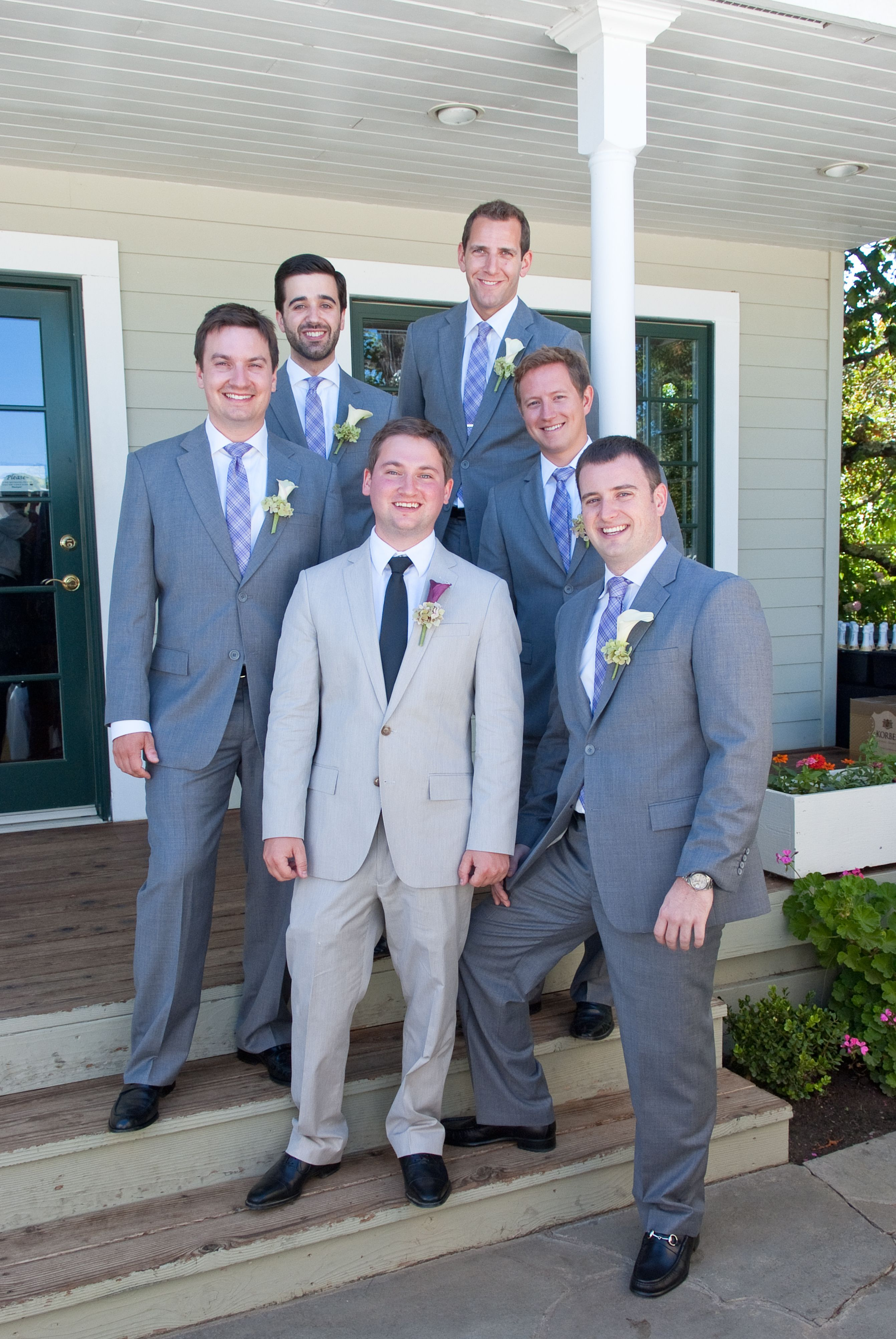 groomsmen in navy blue suits groom in grey - Google Search ...