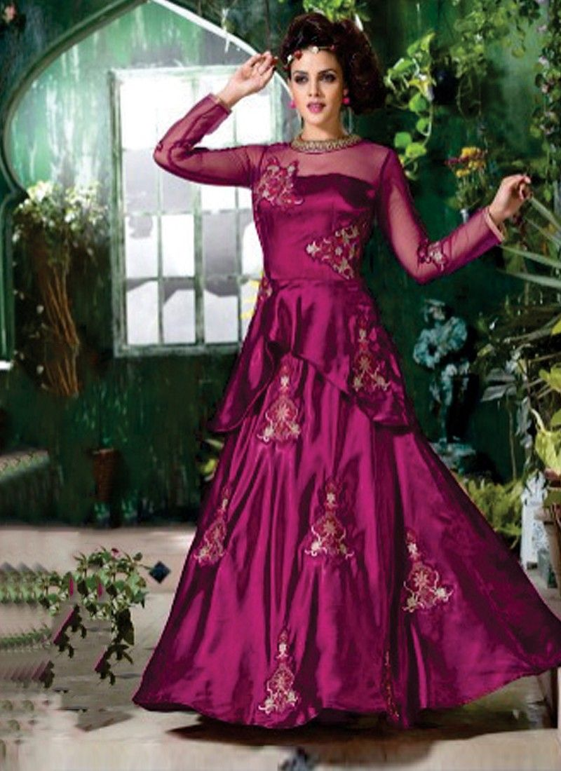 Appealing Dark Purple Coloured Magenta Soft Net Fancy Work Indian ...