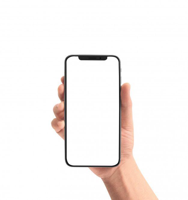 Hand holding phone mockup free
