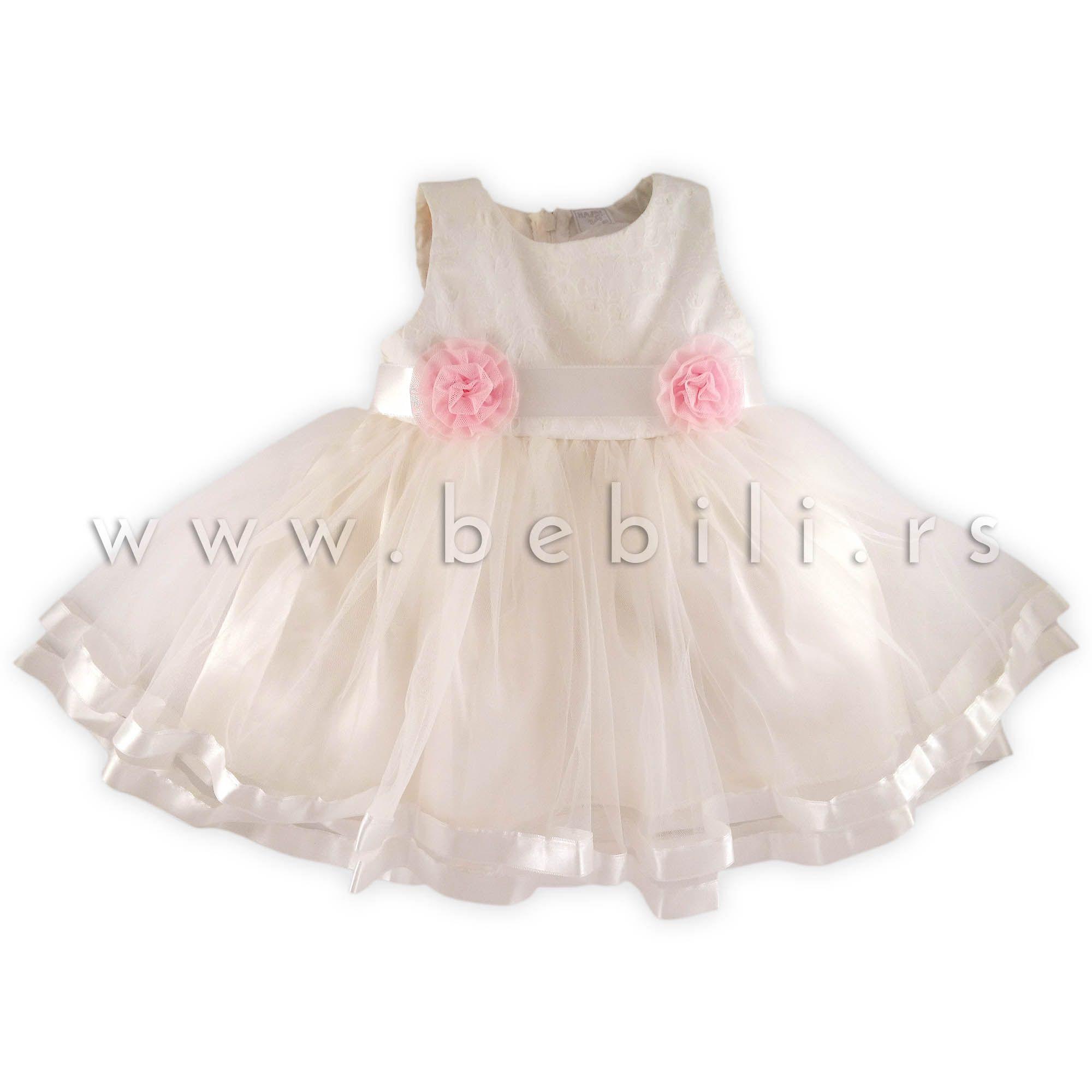 Hajdi Svečana Haljina Za Bebe Beli Cvetić Girls Dresses