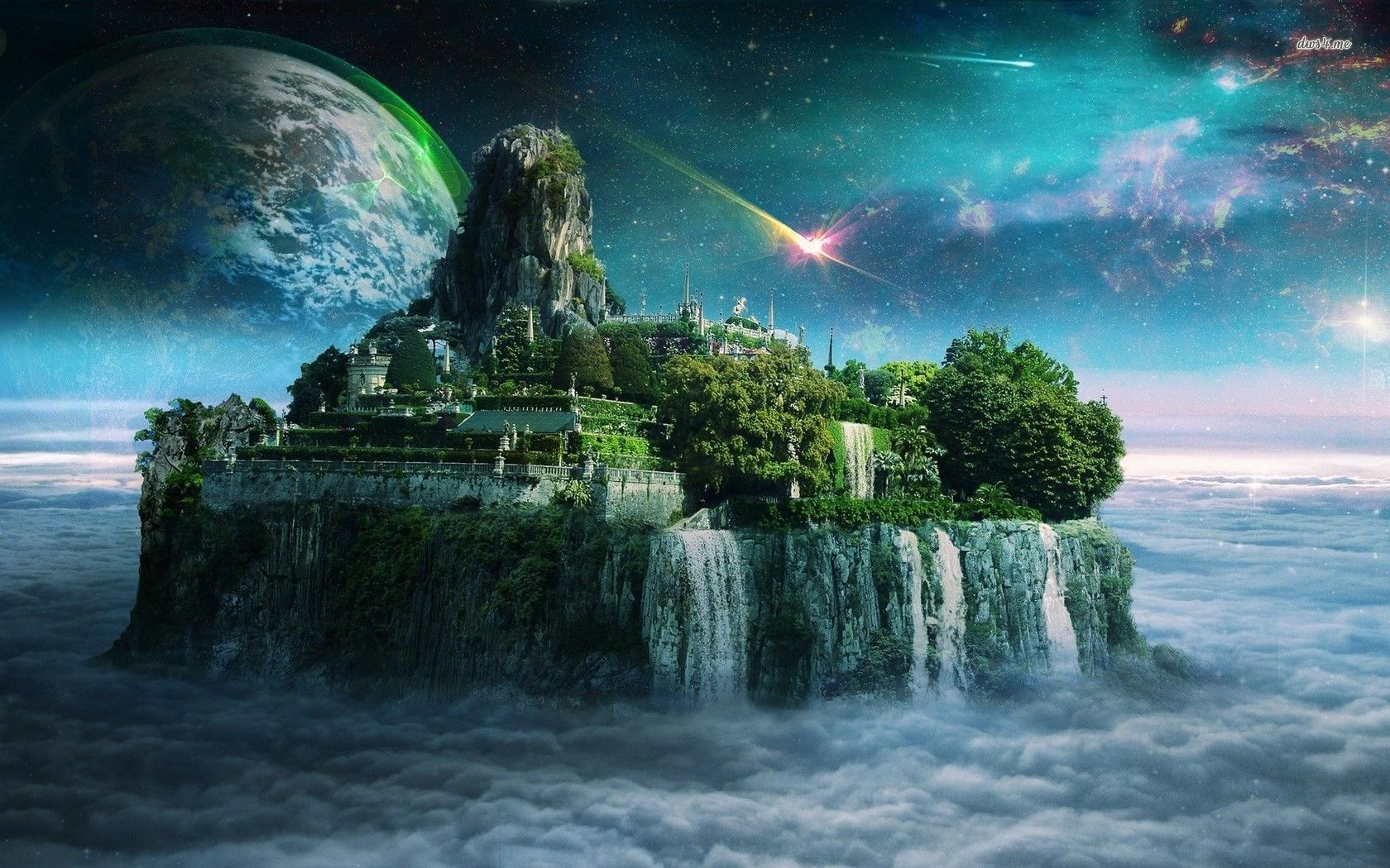Kingdom On A Floating Island Hd Wallpaper Fantasy Landscape Fantasy Art Landscapes Island Art