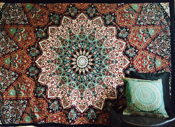 Indian Throw Hippie Gypsy Cover Bohemian Dorm Deco by BAZZAREE