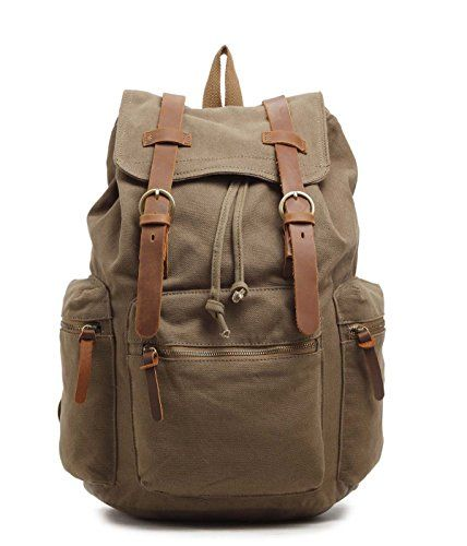 Sulandy Multi Function Vintage Canvas Leather Hiking Travel Military Backpack Messenger Tote Bag Laptop