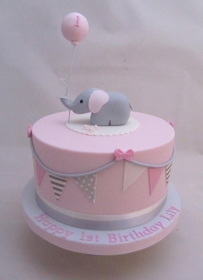1st Birthday Cake Girl , Pink And Grey Elephant Baby Shower Collection +  Party Ideas