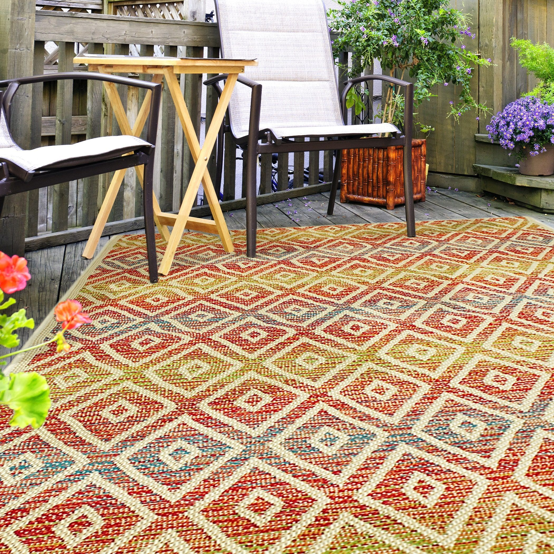Hermosa Geometric Multi Indoor Outdoor Rug 5 3 X 7 6 Multi Indoor
