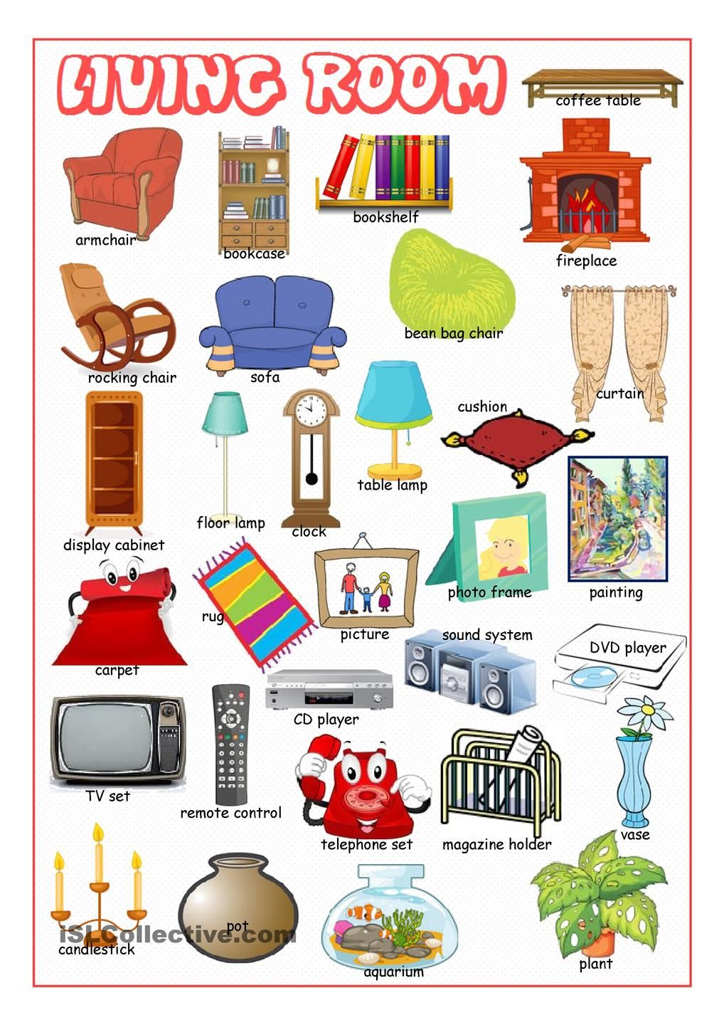 Living Room Picture Dictionary | English class | Pinterest | Living ...