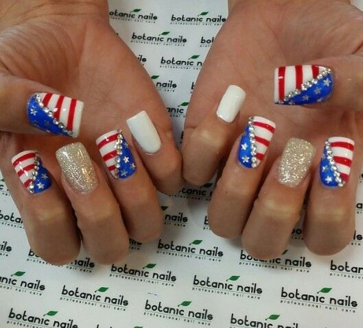 4th Of July Nails Red White And Blue Sparkles Gel Acrylic