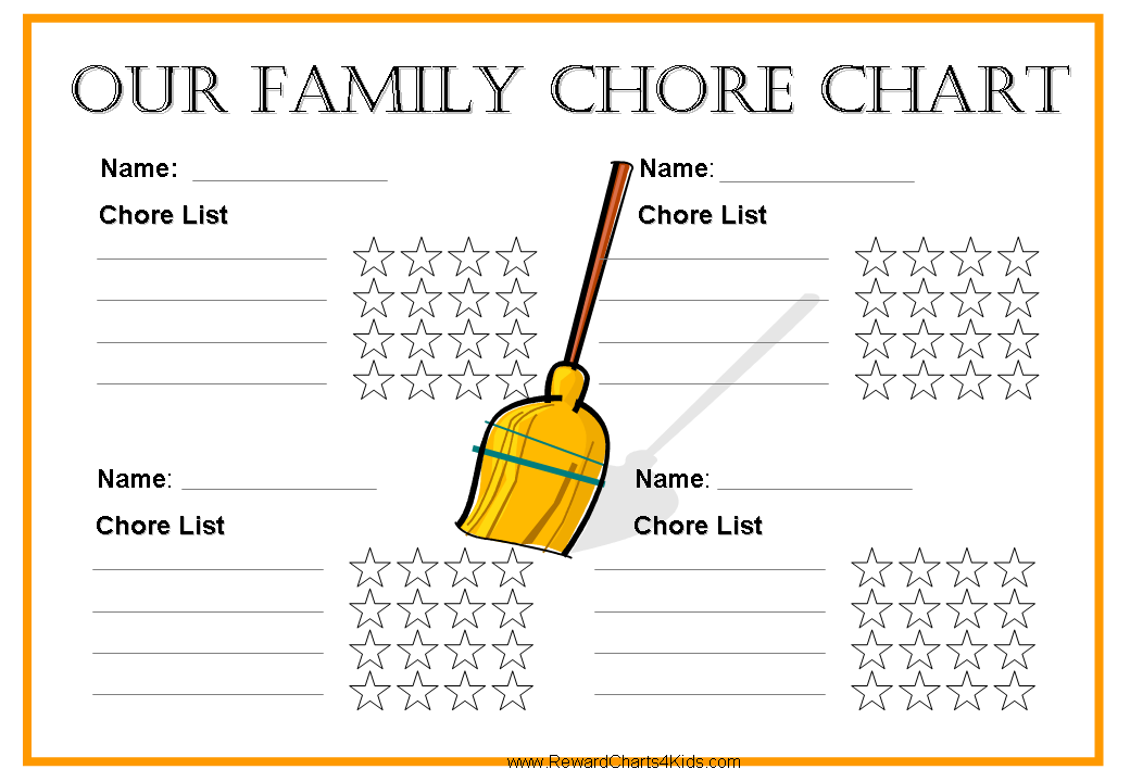 graphic regarding Printable Chore Charts for Multiple Children identified as No cost printable chore charts for numerous kids