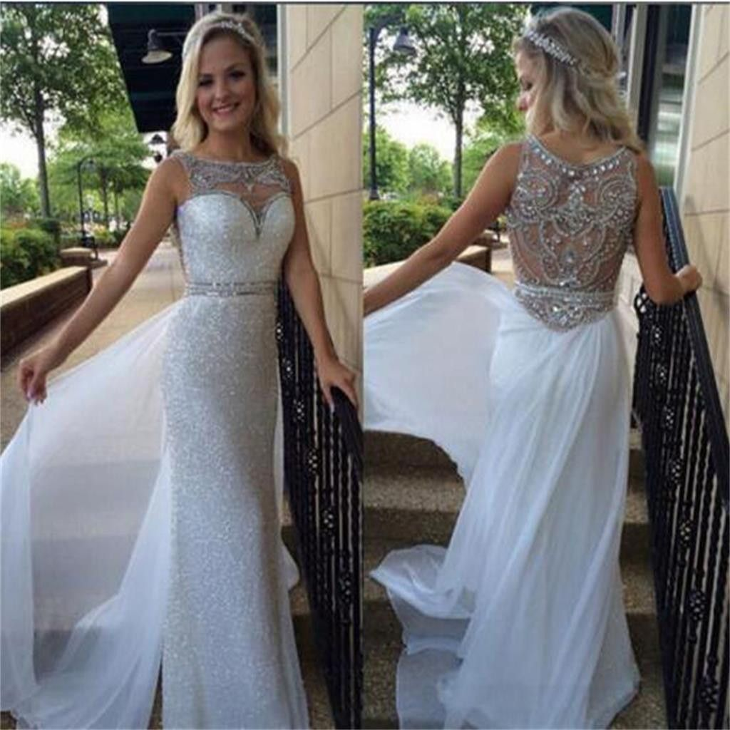Long sheath sleeveless sparkly rhinestone back elegant gorgeous full