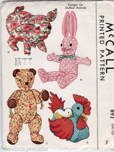 Vintage-McCall-893-1941-ORIGINAL-Pig-Bear-Bunny-Chicken-Stuffed ...