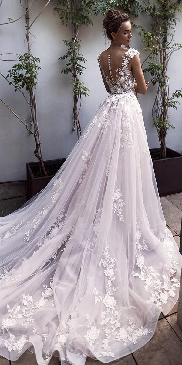 most put on wedding dresses a line capped illusion back ... - #capped #dresses #fancydress