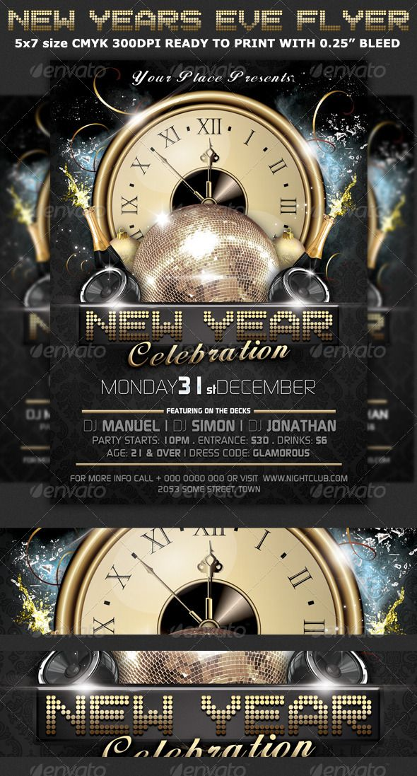 New Years Eve Party Flyer Template | Party Flyer, Flyer Template
