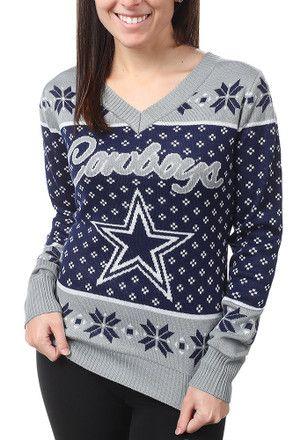 online retailer 89c42 693b3 Dallas Cowboys Womens Navy Blue Big Logo Sweater   NFL ...
