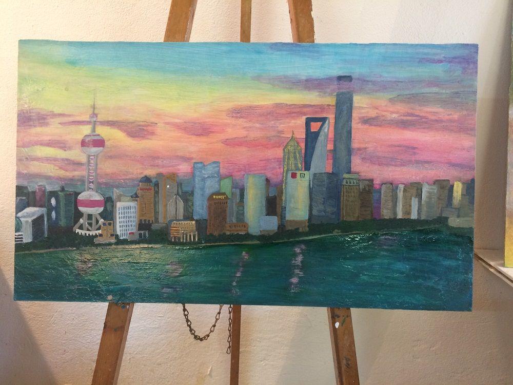 Skyline shanghai pu dong acrylbild malen mit acryl acrylmalerei malen mit acryl acrylmalerei - Malen mit acryl auf leinwand ...
