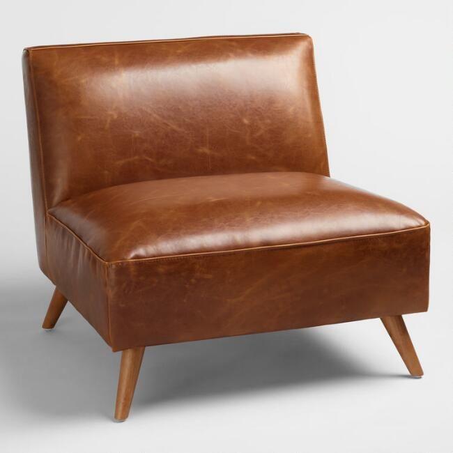 Cognac Bi Cast Leather Huxley Chair