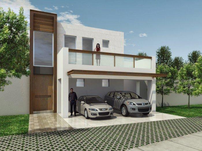 Fachada minimalista elegante imitacion recubrimiento - Casas de madera minimalistas ...