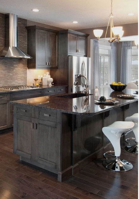 25+ Ways To Style Grey Kitchen Cabinets | Stained kitchen cabinets, Grey kitchen designs, Wood ...