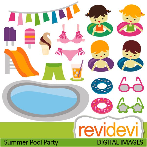 Pool party cliparts swimming pool slider boys girls ice cream sunglasses banners bikini for Free clipart swimming pool party